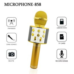 Wholesale Usb Microphone Speakers - 858 Wireless Microphone Hifi Speaker Karaoke Sing Songs FM Radio Selfie USB Devices TF Card Record Songs for Android system Mobile Phone