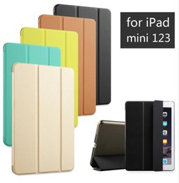 Wholesale Ipad Air Tri Fold Cover - Tri-fold smart cover Color Ultra Slim PU Leather Transparent Back Case for mini 1 2 3,Tablet PC Cover for Ipad Air 2 3 4 5 6 Pro 9.7 12.9''