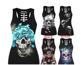 Wholesale Print Sexy S - New Sexy Skull Print Tank Tops Black Plus Size Casual Summer Punk Street Tops