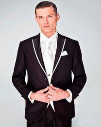 Wholesale Bridal Suits Men - Wholesale- 2017 New Tailor Made black Men's Wedding Suits Tailcoats Bridal Groom Tuxedos Slim Fit Best Man Suits 3 Piece