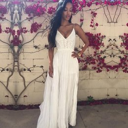 Wholesale Lady Chiffon Pleated Dress - 2016 fashion new arrival women's dress Ladies Sexy Strap V-Neck Lace Floral High Elastic Waist Backless Chiffon Maxi Party Beach Long D