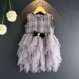 Wholesale Western Style Dresses Kids - Western style Princess Girl Dress Plaid Lace Irregular Tulle Kids Dresses Sleeveless Tulle Bowknot kids Girls Party Dress Pink Grey A6876