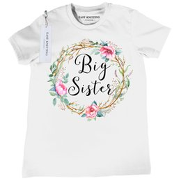 Wholesale 4t Girls Costume - Big Sister T Shirts 2017 Summer Girl Clothes Toddler Short Sleeve T-shirts For Kids Girl Costume Free Shipping