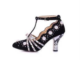 Wholesale Stiletto Heel Mary Jane - New Arrival Spring Classic Mary Jane Shoes Women Suede Leather Pearl Rhinestone T-strap High Heel Shoes Christmas Party Shoes