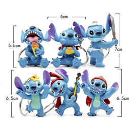Wholesale Multi Action - 12pcs 2lot Stitch action figure keychain toy set New Anime stitch figurine figura car key chain styling party supply Decor