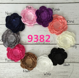 Wholesale Makes Hairwear - Hot Sale Children Satin Flowers Rose Hair Accessories DIY Rhinestone Hairband Hairwear Florals Multi Colors Crystal Cute Hand Make Accessory