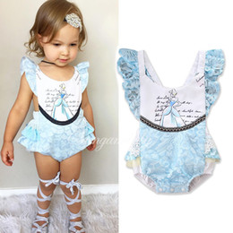 Wholesale Kids Slings - INS Europe and America styles Baby kids summer short sleeve sling Princess lace romper clothes girl infant romper free shipping