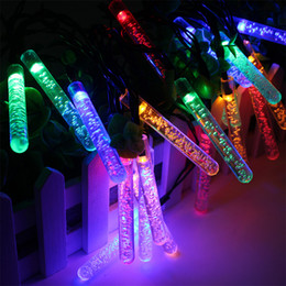 Wholesale Icicle Outdoor Lights - Solar LED Lamp 30LEDs Fairy Icicle Solar Power String Light Air bubbles Christmas Holiday Decoration Garden Waterproof Outdoor Lighting