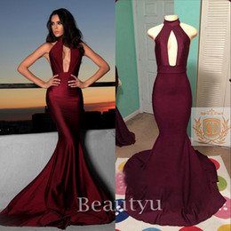 Wholesale Stretch Satin Halter Dress - Simple Burgundy Sexy Mermaid Dresses Evening Wear 2017 Backless Stretch Satin Keyhole Neck Sleeveless Long Prom Party Gowns Custom Made 2017