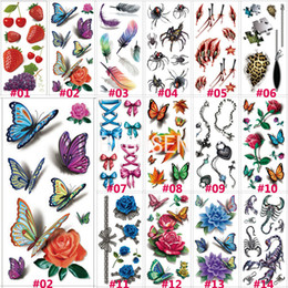 Wholesale Tattoos Colorful Sleeves - Wholesale-1 Sheet 190x90mm 3D Tattoo Colorful Waterproof Body Sleeve DIY Sticker Glitter Temporary Tattoos Rose Flower Butterfly B3DLOT1