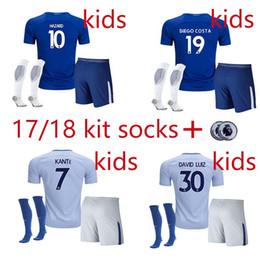 Wholesale New Boys Sets - new Chelsea soccer jersey socks patchs 17 18 Kids kit 2017 2018 HAZARD KANTE DIEGO COSTA DAVID LUIZ youth set home away football FABREGAS