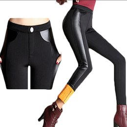 Wholesale Plus Size Velvet Leggings - Wholesale- 2016 Plus Size 4XL Winter Pencil Pants Velvet Warm Slim Women Leggings Black Workout Punk Rock PU Leather Female MF74