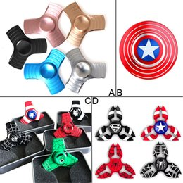 Wholesale Finger Man - New Arrival Fidget Spinner Captain America HandSpinner Spider Man Finger Gyro Finger EDC For Decompression Toy Anxiety Hand Spinner