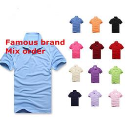 Wholesale Men Mix Color Shirt - Plus size S~6XL Men Famous polo shirts Popular Custom Made Golf polos shorts sleeve cotton blend Regular Fit Summer Tees mix order