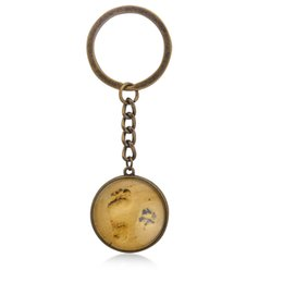 Wholesale paw prints - Vintage Sand Footprint Glass Pendant Necklace Keychain Dog paw prints Key Chain Keyring For Dog Lovers Friendship Jewelry Gift
