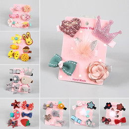 Wholesale flower girls hair styles - 13 styles Kids hair accessories Sets Sequin Crown Bunny Ear Bow Flower boutique Hair bows Toddler barrettes Girls Hair Pin Set hairs Clip