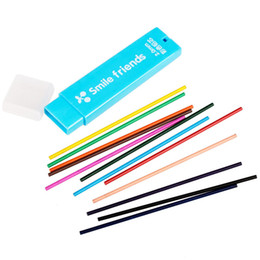 Wholesale Refill Leads - Wholesale- 12 color 2.0 mm Mechanical Pencil color lead Refill Drawing Colored free shipping