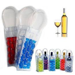 Wholesale Wine Bags Coolers Wholesale - Rapid Ice Wine Cooler PVC Beer Cooler Bag Outdoors Ice Gel Bag Picnic CoolSacks Wine Coolers Chillers Frozen Bag Bottle Cooler OOA2138