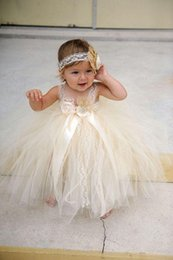 Wholesale Christening Gowns For Newborns - champgne beaded lace newborn baby flower girls dresses 2017 spaghetti ball gown infant little girls pageant dresses formal for wedding