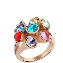 Wholesale Swarovski Stone For Jewelry - Gemstone Rings for Women Austrian Crystal Rings Rose Gold Plated Korean Fashion Jewelry Made with Swarovski Elements DHL