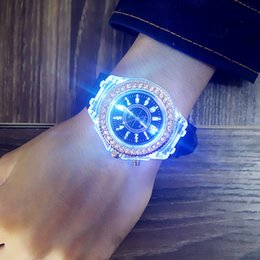Wholesale Unisex Geneva Silicone - Mens Geneva diamond women crystal 7 colors led light watch unisex silicone jelly candy fashion flash up backlight quartz watches