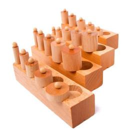 Wholesale Socket Toys - Wholesale- Montessori Educational Wooden Toys For Children Cylinder Socket Blocks Toy Baby Development Practice and Senses Toys 4pcs set