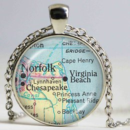 Wholesale Love Bijoux - Tulsa map necklace Oklahoma map pendant glass dome chain necklace bijoux women jewelry vintage necklace maps jewellery wholesale