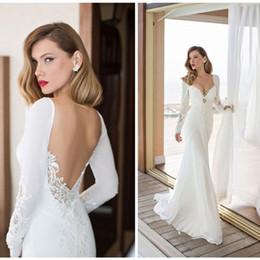 Wholesale Satin Lace Robe Long - New Arrival 2017 Elegant Long Sleeve Mermaid Wedding Dress Vestido De Noiva Chiffon And Spandex Bridal Gowns Robe De Mariee