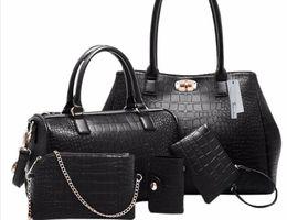 Wholesale Leather Body Pieces - Brands High Quality Stone Pattern PU Leather Luxury Handbags Women's Designer Black Composite Bags 5 Pieces Sets Bolsas Feminina