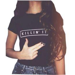 Wholesale Tshirt Woman Brand - t shirts for women's fashion brand clothing t-shirt KILL IN IT kawaii top tees shirts women's cute tops tees mini tshirt NV11 RF