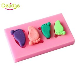 Wholesale Baby Feet Mold - Delidge 1 pc Baby Feet Shape Cake Mold Silicone 3D Feet Fondant Chocolate Candy Jelly Decoration Fondant Mould Cute Foot Molds