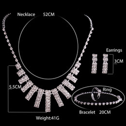 Wholesale Women Bridal Sets - 2017 New Crystal Silver Rhinestone Necklace Earrings Jewelry Ring 4 Sets Girl and Women Brides Accessories Homecoming Party Bridal Wedding