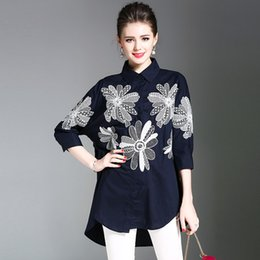 Wholesale Chinese Blouse Fashion - Floral Embroidery Shirts Casual Loose Blouse High End New Fashion Original Chinese Style Ladies Long Tops Plus Size