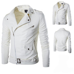 Wholesale Men S White Leather Jacket - Men Fashion PU Leather Jacket Spring Autumn New British Style Men Leather Jacket Motorcycle Jacket Male Coat Black White M-3XL