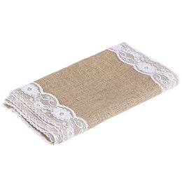 Wholesale Table Runner Crochet Wholesale - Wholesale-Fancy TOP SELL 12 x 108 Inches White Burlap Lace Hessian Natural Jute Table Runner for Wedding Party Table Decoration