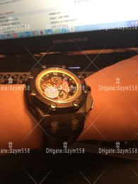 Wholesale Fiber Tags - Best Quality Carbon Fiber Watch Chronograph 44mm 7750 Automatic AAA 26290IO Man Watch Sec@12 JF Factory Waterproof Watch DHL