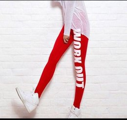 Wholesale Girls Leggings Working Out - Girl Leggings Fashion Comfortable Women Pencil Fit Running Pants Workout Work Out Just Do It Print Sports Leggings Love Fitness Gun Trousers