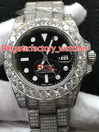 Wholesale Mm Machines - Full diamond brand automatic machine men's watch new model fashionable silver shell luxury watch men's watch waterproof free shipping.