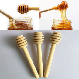 Wholesale Wooden Honey Dippers Wholesale - 8cm Long Mini Wooden Honey Stick Honey Dippers Party Supply Spoon Stick Honey Jar Stick Free DHL WX-C30