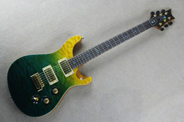 Wholesale Green Bird Guitar - Custom 22 Private Stock Limited 3 Color Green Yellow Qulited Maple Top Solid Body Electric Guitar Abalone Birds Ring Fingerboard Inlay