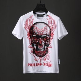 Wholesale Vest Short Sleeve Shirt - Crystal Beads T-shirts Men Graffiti 3D Skull T-shirt Cotton Short Sleeve Shirts Tops Vest Black White Male Slim Sport Poloshirt Shirts 18743