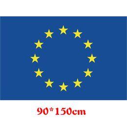 Wholesale Fiber Unions - European Union Flags 90*150cm 3*5ft Banner Blue With Ringlike Stars EU Oriflamme Polyester Fiber Flag Free Shipping 5 5qti