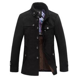 Wholesale Classic Wool Coats Men - Wholesale- Classic Wool Pea Coat Men Manteau Homme 2016 Winter Fashion Mens Thick Cashmere Overcoat Casual Brand Duffle Coat Pea coats 3Xl