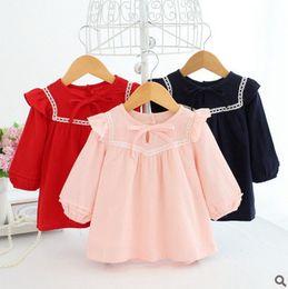 Wholesale Newborn Blouse - Toddler kids blouses lace fashion baby girls cotton linen princess tops Newborn falbala pullover 2017 autumn new baby cotton clothing T5012