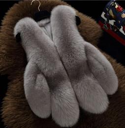 Abrigo de piel de zorro abrigo online-S-3XL Escudo imitación de las mujeres de piel de zorro chaleco de invierno abrigo de pieles caliente Cardigan Hembra piel chalecos de la manera mujeres de lujo de la chaqueta de Gilet Veste Mujer