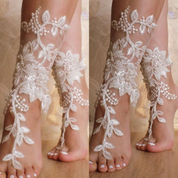 Absolutely Gorgeous Shoes For Beach Weddings Delicate Lace Applqiues Bead Sequins Open Toe Ankle Flat Bridal Shoe For Summer