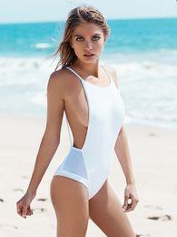 2019 maiô de malha sem encosto Mulheres Hot Style 2017 Praia One Piece Swimsuit Sexy Malha Backless Bodysuit Maiô Maiô Maillot desconto maiô de malha sem encosto