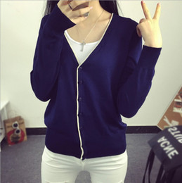 Wholesale Knit Sweater Decorated - Wholesale-14 Colors Spring Autumn Women V-Neck Knitted Casual Sweaters Cardigans Lady Knitting Full Sleeve Outwear With Decorated Strip