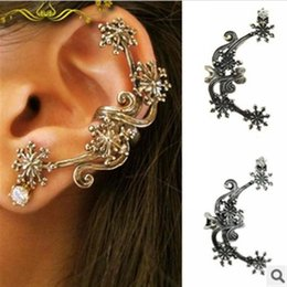 Wholesale Cuff Rings Wholesale - Hot Sale Retro Ancient Silver  Bronze Plated Flower Left Ear Cuff Earrings Punk Style Flower Ear Clips Earing Ear Ring Accessories Jewelry