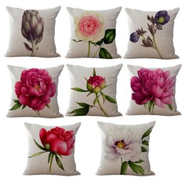 Wholesale pink roses pillow cases - Wholesale- 8 Patterns Rose Flower Cotton Linen Cushion Pillow Case CoverAlabastrum Small Fresh Home Textile 45cmX45cm